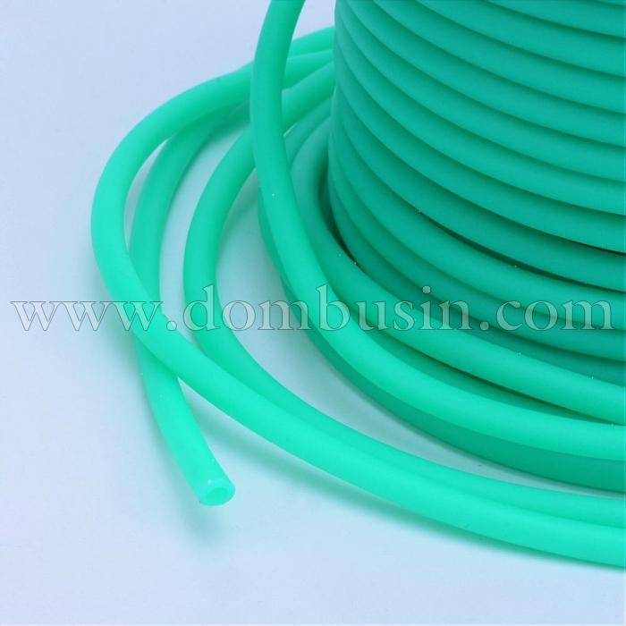 Шнур Резиновый Синтетический Полый, Цвет: Бирюзовый, Толщина 3мм, Отверстие 1.5мм, (УТ100016759)