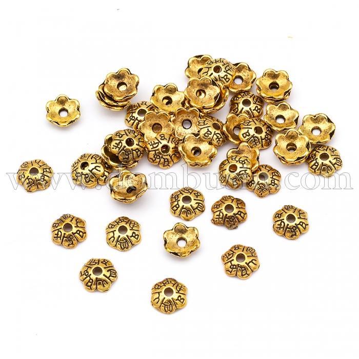 Шапочки для Бусин из Сплава, Цветок, Цвет: Античное Золото, Размер: 6х2мм, Отверстие 1мм, (УТ100016766)