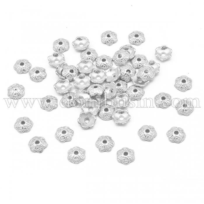Шапочки для Бусин из Сплава, Цветок, Цвет: Серебро, Размер: 6х2мм, Отверстие 1мм, (УТ100016773)