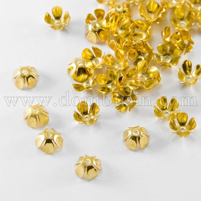 Шапочки для Бусин Железные, Цветок, Цвет: Золото, Размер: 8х4мм, Отверстие 1мм, (УТ100016783)