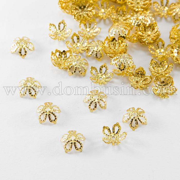 Шапочки для Бусин Железные, Цветок, Филигранные, Цвет: Золото, Размер: 8х3мм, Отверстие 0.5мм, (УТ100016816)
