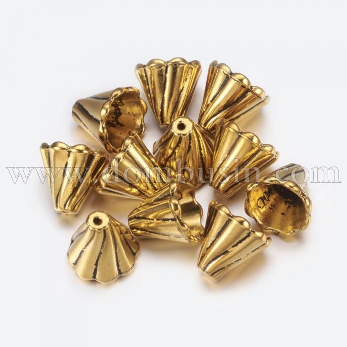 Конус Шапочки для Бусин, Сплав, Цвет: Античное Золото, Размер: 13x12мм, Отверстие 2мм, (УТ100016819)