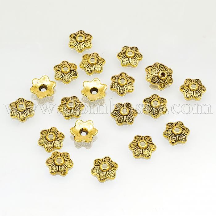 Шапочки для Бусин, Сплав, Цветок, Цвет: Античное Золото, Размер: 10.5х3.5мм, Отверстие 2мм, (УТ100016823)