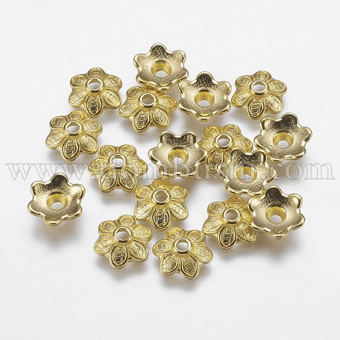 Шапочки для Бусин, Сплав, Цветок, Цвет: Золото, Размер: 10.5х3.5мм, Отверстие 2мм, (УТ100016824)