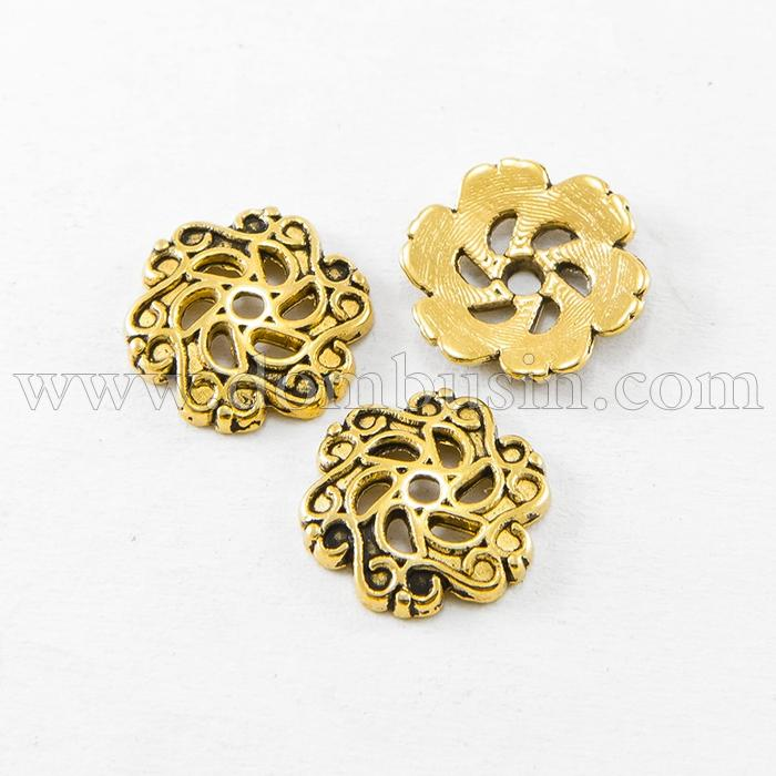 Шапочки для Бусин, Сплав, Цветок, Цвет: Античное Золото, Размер: 13х2.5мм, Отверстие 1.5мм, (УТ100016857)