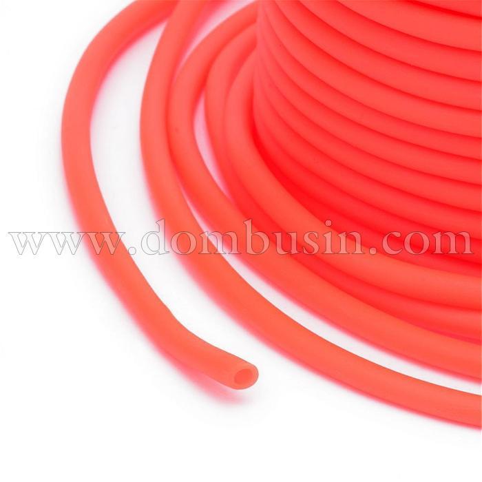 Шнур Силиконовый Полый, Цвет: Оранжево-красный, Размер: Диаметр 5мм, Отверстие 3мм, около 10м/катушка, (УТ100016866)