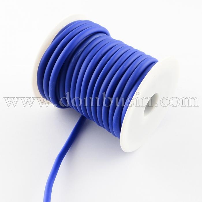 Шнур Силиконовый Полый, Цвет: Темно-синий, Размер: Диаметр 5мм, Отверстие 3мм, около 10м/катушка, (УТ100016869)