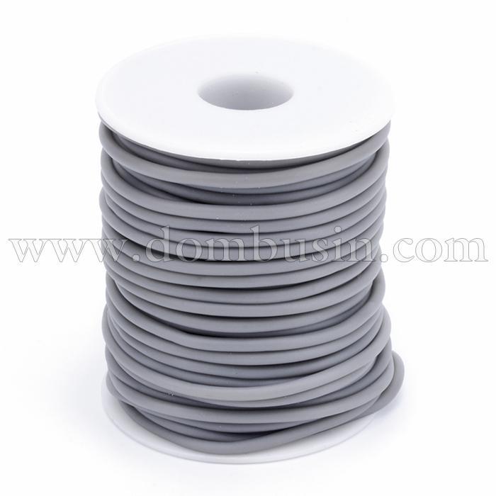 Шнур Резиновый Синтетический Полый, Цвет: Серый, Толщина 3мм, Отверстие 1.5мм, (УТ100016874)
