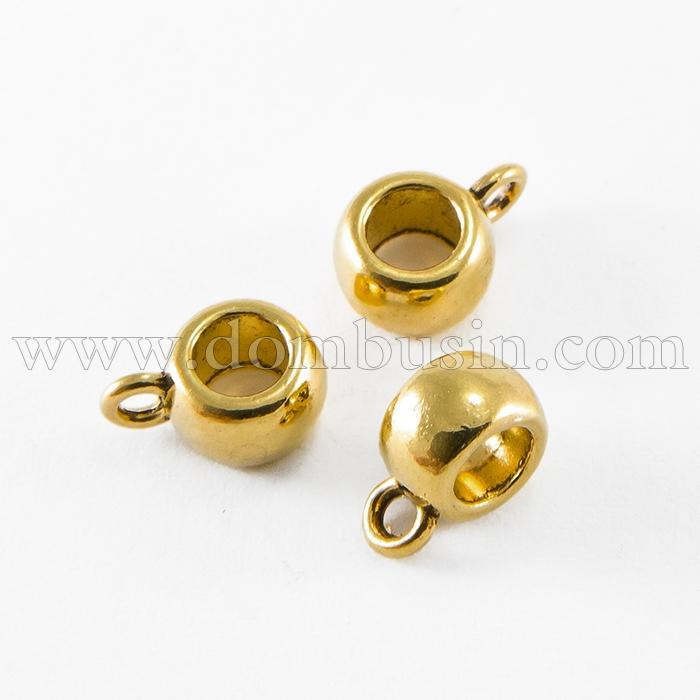 Бейл из Сплава, Рондель, Цвет: Античное Золото, Размер: 8х5мм, Внутренний Диаметр 5мм, Отверстие 2мм, (УТ100016892)