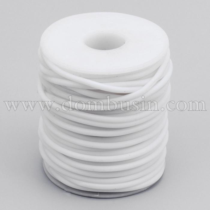 Шнур Резиновый Синтетический Полый, Цвет: Белый , Толщина 3мм, Отверстие 1.5мм, (УТ100016920)