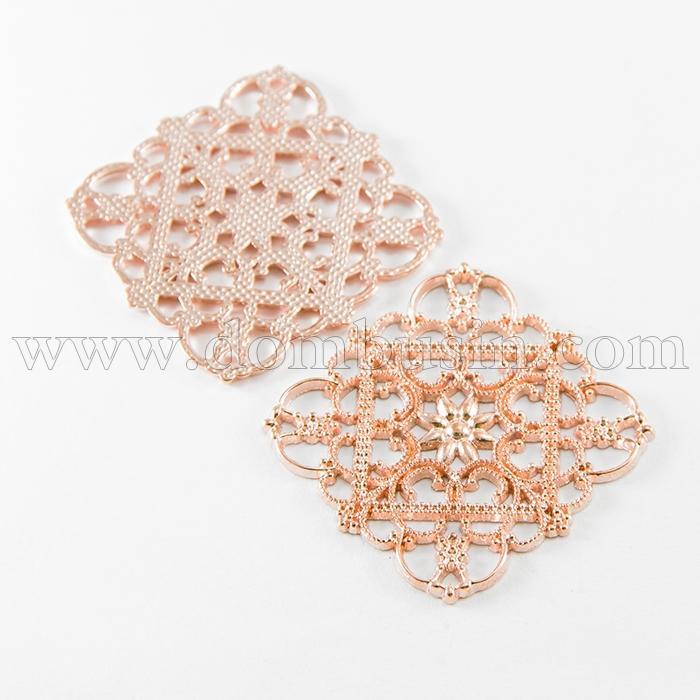 Коннектор Филигранный Металл, 6 и более отверстий, Цвет: Розовое Золото, Размер: 36x36x1мм, Отверстие 1мм, (УТ100010601)