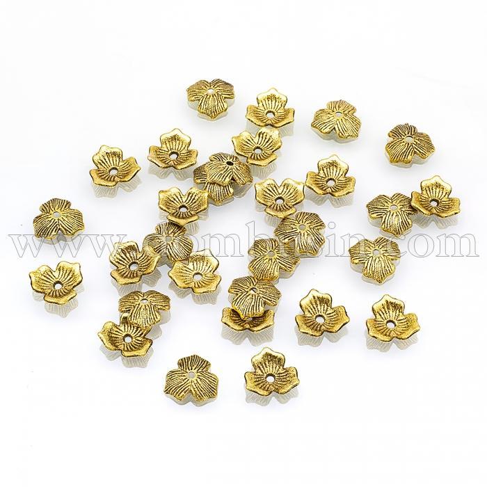 Шапочки для Бусин, Сплав, Треугольные, Цвет: Античное Золото, Размер: 11х2.5мм, Отверстие 1.5мм, (УТ100017052)