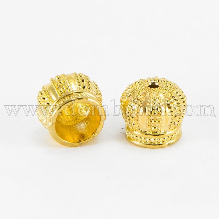 Конус для Бусин, Латунь, Цвет: Золото, Размер: 12х10мм, Отверстие 2мм, (УТ100017230)