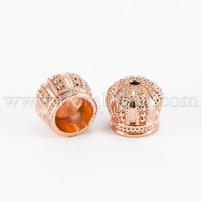 Конус для Бусин, Латунь, Цвет: Розовое Золото, Размер: 12х10мм, Отверстие 2мм, (УТ100017231)