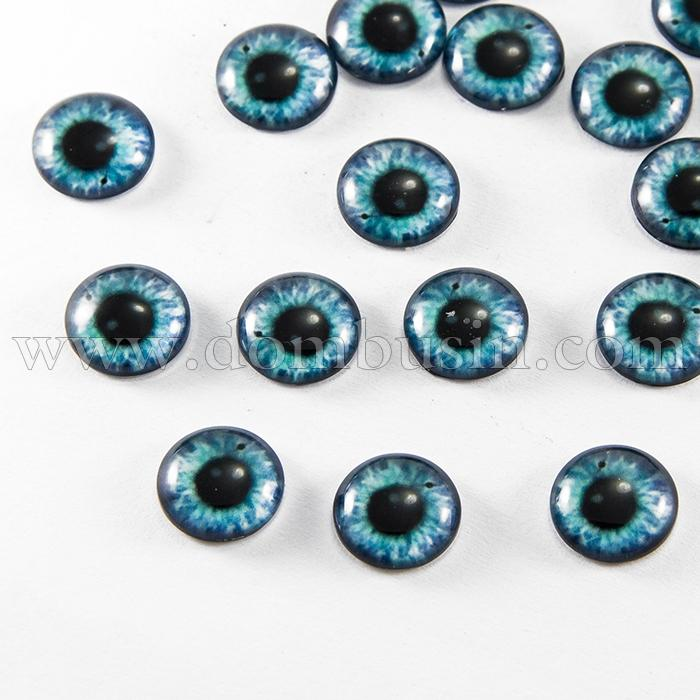 Глазки Стеклянные Живые для Игрушек и Скрапбукинга, Круглые, Цвет: Бирюза, Диаметр 12мм, (УТ100017257)