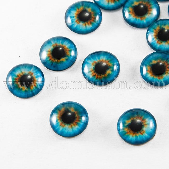 Глазки Стеклянные Живые для Игрушек и Скрапбукинга, Круглые, Цвет: Голубой, Диаметр 12мм, (УТ100017259)