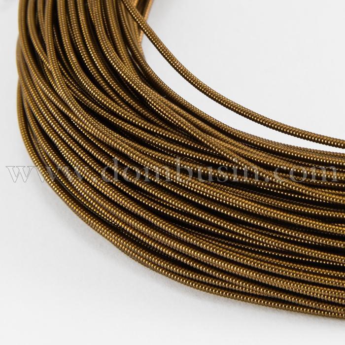 Канитель Жесткая, Цвет: Шоколадный, Диаметр 1мм, отрезки не менее 8 см, около 250см/10г, (УТ100018333)
