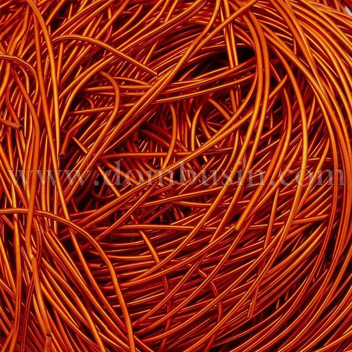 Канитель Гладкая, Цвет: Оранжевый, Диаметр 1мм, Отрезки не Менее 15см, около 650см/10г, (УТ100018463)