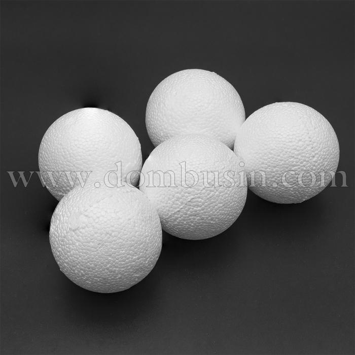 Шар пенопластовый, Диаметр: 80мм, Цвет: Белый (УТ100021655)