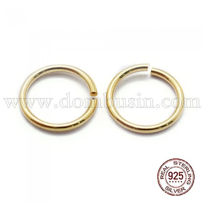 Серебро 925 Колечки Одинарные Открытые, Цвет: Золото, Размер: 6х0.7мм, Внутренний Диаметр 4мм, (УТ100024010)