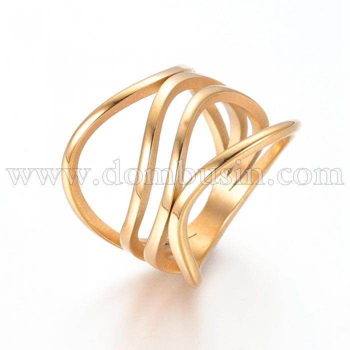 Кольцо, Нержавеющая Сталь 304, Цвет: Золото, Размер 17.0, (УТ100024028)