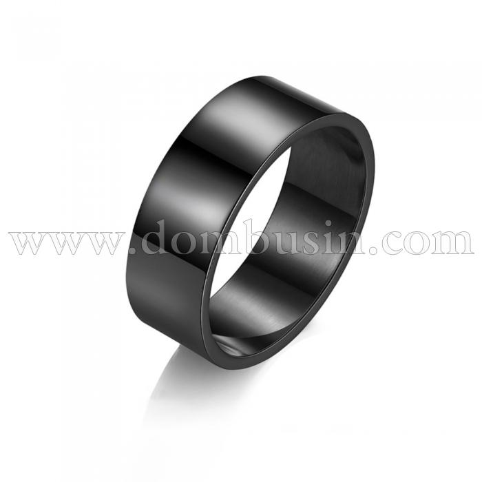 Кольцо, Титановая Сталь, Широкое, Цвет: Черный, Размер 18.9мм, (УТ100024062)