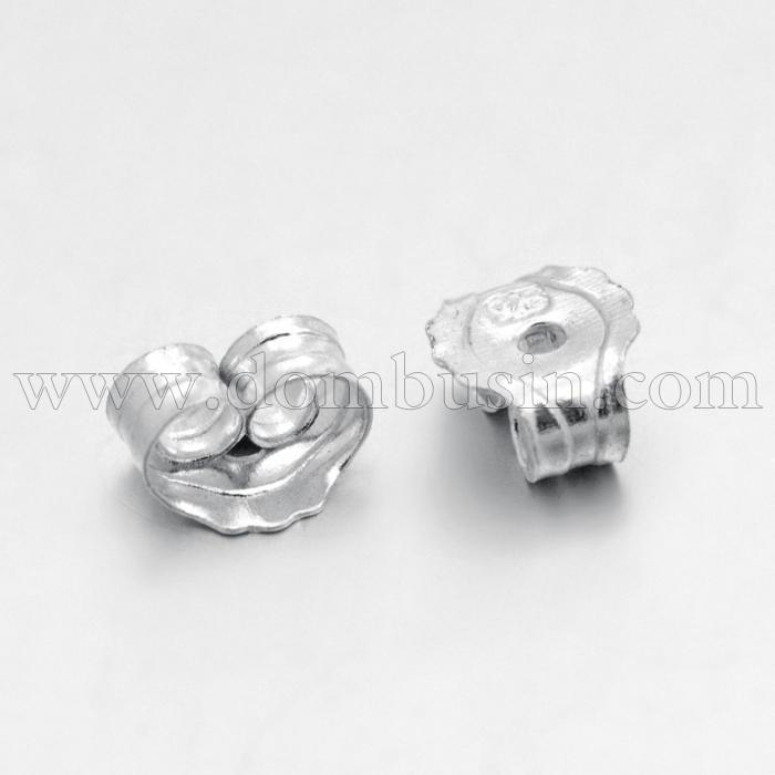 Серебро 925 Заглушки, Цвет: Серебро, Размер: 5x5x3мм, Отверстие 0.6мм, (УТ100024082)