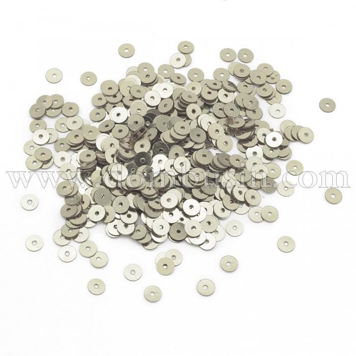 Пайетки, Круглые, Непрозрачные, эффект Античный Металлик, Цвет: Серебристо-серый, Размер: 4мм,  около 2000шт/10г, (УТ100024093)