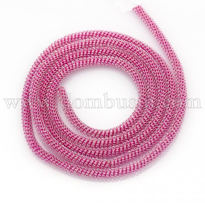 Канитель Фигурная, Диаметр: 3мм, Цвет: Розовый, цельный отрезок 55см/6г, (УТ100024130)