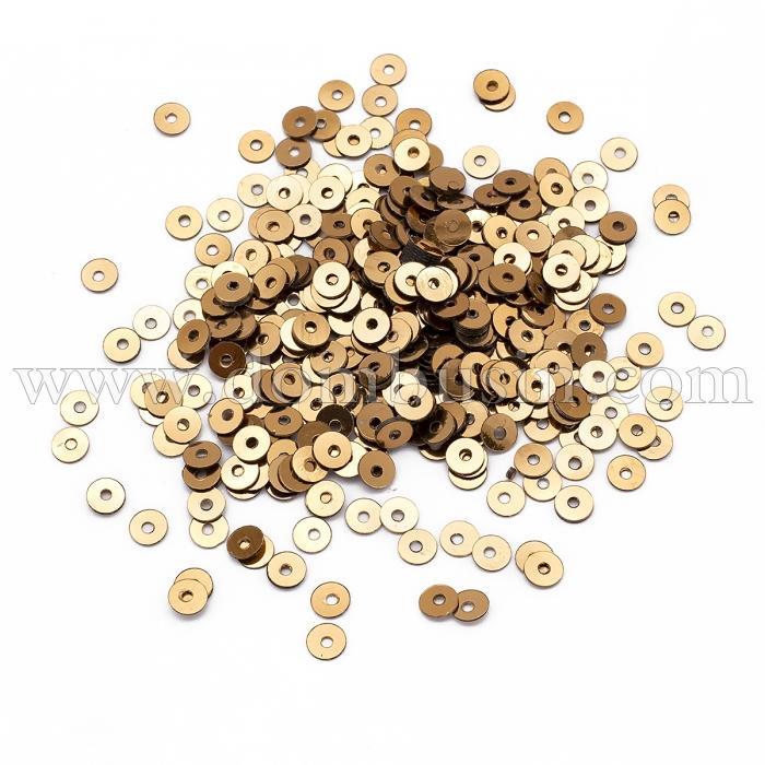 Пайетки, Круглые, Непрозрачные, эффект Античный Металлик, Цвет: Темное Золото, Размер: 4мм, около 2000шт/10г, (УТ100024142)