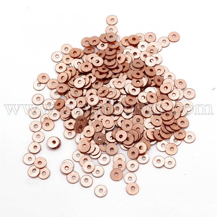 Пайетки, Круглые, Непрозрачные, эффект Античный Металлик, Цвет: Розовое Золото, Размер: 4мм, около 2000шт/10г, (УТ100024144)