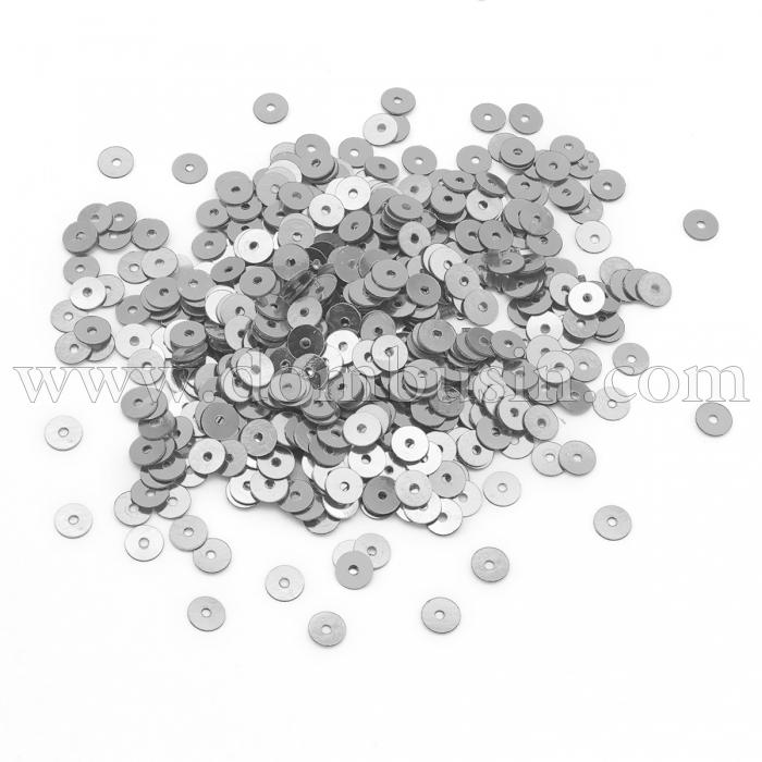 Пайетки, Круглые Зеркальные, Цвет: Серый, Размер: 4мм, около 750шт/5г, (УТ100024156)