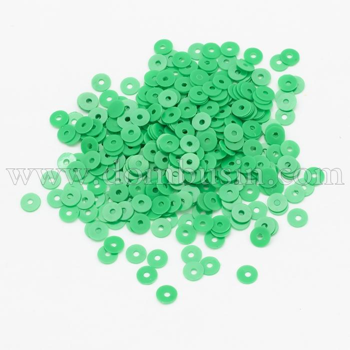 Пайетки, Круглые, Матовые, Цвет: Зеленый, Размер: 4мм, около 1500шт/10г, (УТ100024173)