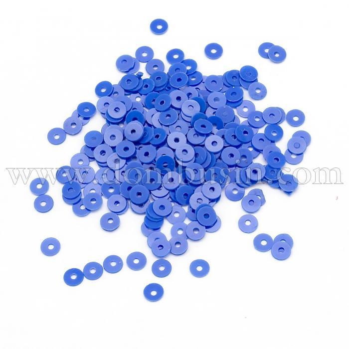 Пайетки, Круглые, Матовые, Цвет: Синий, Размер: 4мм, около 1500шт/10г, (УТ100024177)