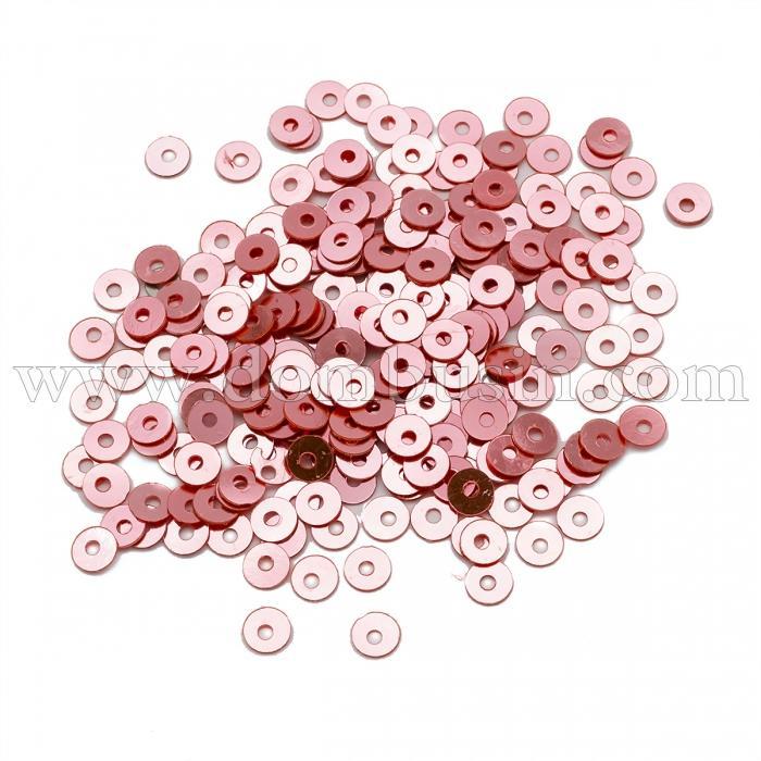 Пайетки, Круглые, Непрозрачные, эффект Античный Металлик, Цвет: Розовый, Размер:4мм, около 2000шт/10г, (УТ100024211)