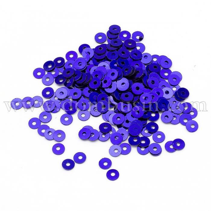 Пайетки, Круглые, Непрозрачные, эффект Античный Металлик, Цвет: Сине-фиолетовый, Размер:4мм, около 2000шт/10г, (УТ100024218)