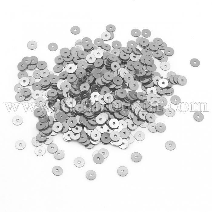 Пайетки, Круглые, Непрозрачные, эффект Античный Металлик, Цвет: Серебро, Размер:4мм, около 2000шт/10г, (УТ100024221)