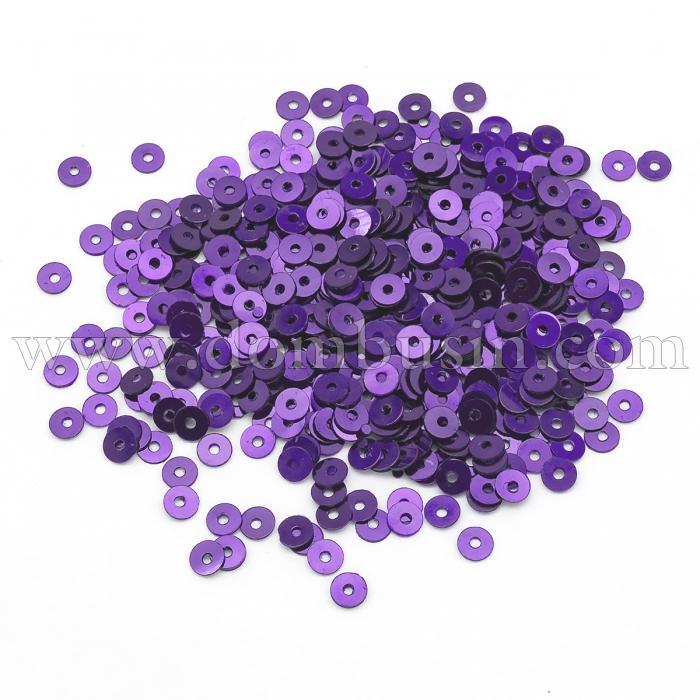 Пайетки, Круглые, Непрозрачные, эффект Античный Металлик, Цвет:Фиолетовый, Размер:4мм, около 2000шт/10г, (УТ100024224)
