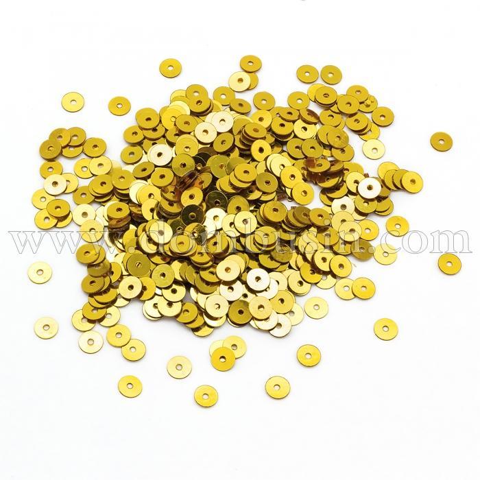 Пайетки, Круглые, Непрозрачные, эффект Античный Металлик, Цвет: Золото, Размер:4мм, около 2000шт/10г, (УТ100024235)