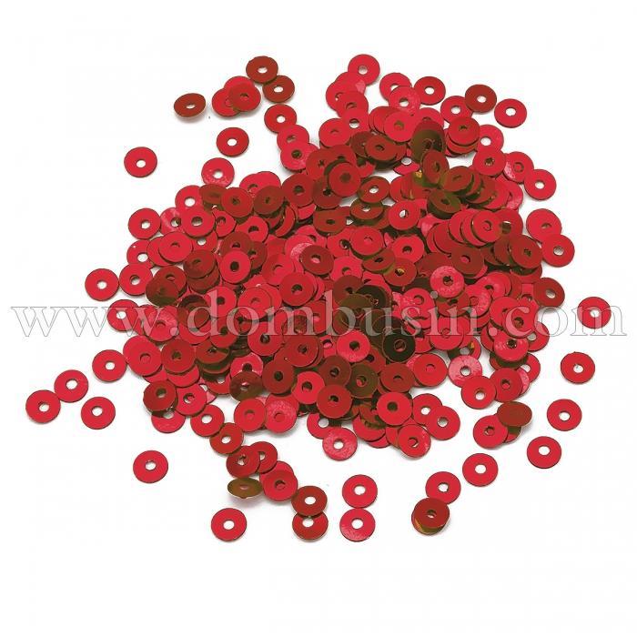 Пайетки, Круглые, эффект Античный Металлик, Цвет: Красный, Размер: 4мм, около 2000шт/10г, (УТ100024244)