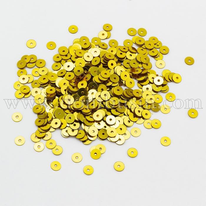 Пайетки, Круглые, Непрозрачные, эффект Античный Металлик, Цвет: Желтое Золото, Размер:3мм, около 3000шт/10г, (УТ100024247)
