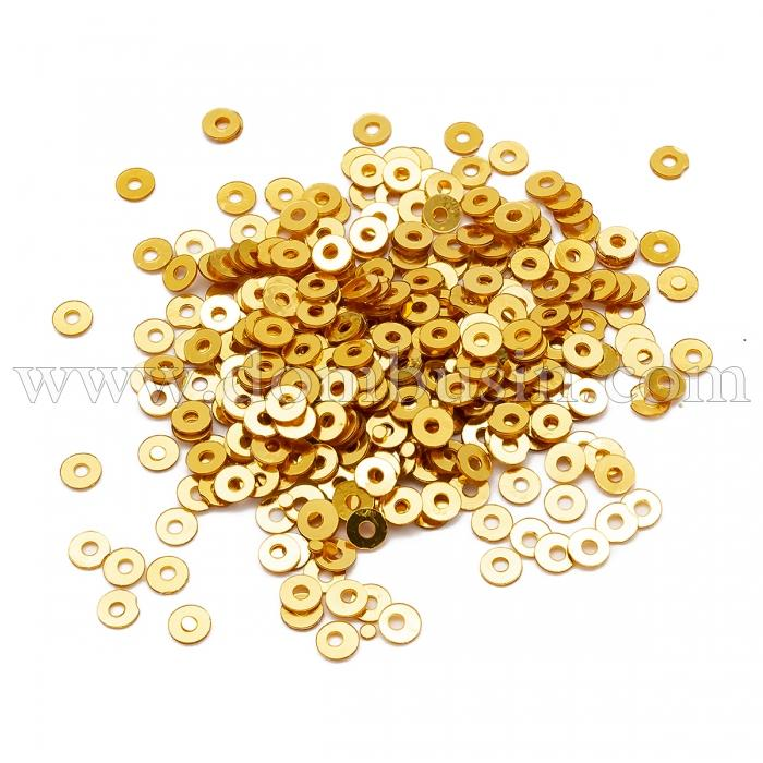 Пайетки, Круглые, Непрозрачные, эффект Античный Металлик, Цвет: Желтое Золото, Размер:3мм, около 3000шт/10г, (УТ100024248)