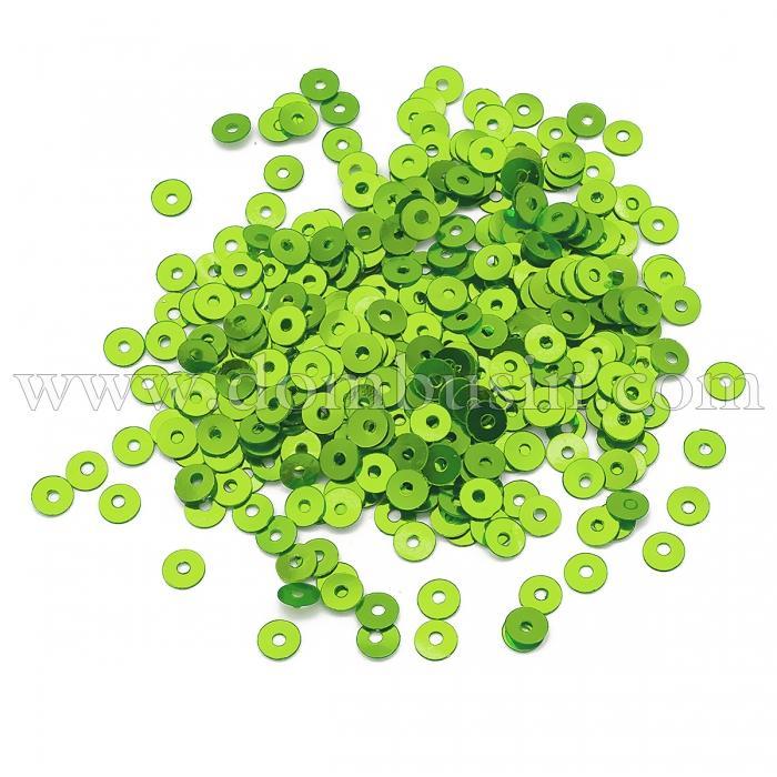 Пайетки, Круглые, Непрозрачные, эффект Античный Металлик, Цвет: Салатово-зеленый, Размер: 3мм, около 3000шт/10г, (УТ100024250)