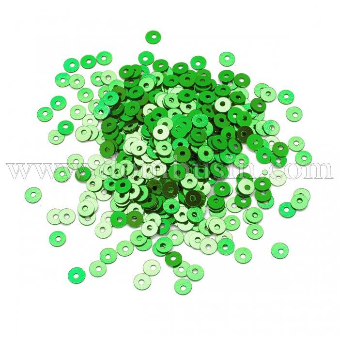 Пайетки, Круглые, Непрозрачные, эффект Античный Металлик, Цвет: Зеленый, Размер: 3мм, около 3000шт/10г, (УТ100024252)