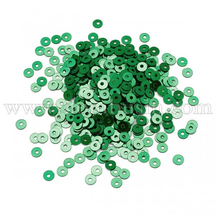 Пайетки, Круглые, Непрозрачные, эффект Античный Металлик, Цвет: Темно-зеленый, Размер: 3мм, около 3000шт/10г, (УТ100024257)