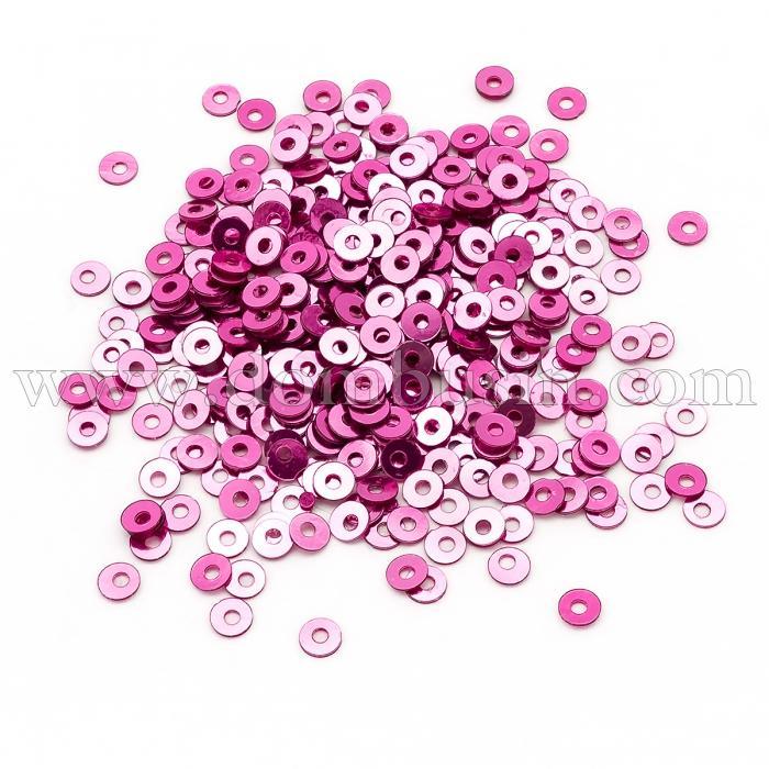 Пайетки, Круглые, Непрозрачные, эффект Античный Металлик, Цвет: Малиновый, Размер: 3мм, около 3000шт/10г, (УТ100024260)