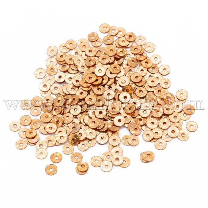 Пайетки, Круглые, Голографические, Цвет: Оранжево-золотой, Размер: 4мм, около 1800шт/10г, (УТ100024268)