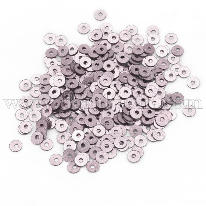 Пайетки, Круглые, Блестящие, Цвет: Пудровый, Размер: 4мм, около 2000шт/10г, (УТ100024276)