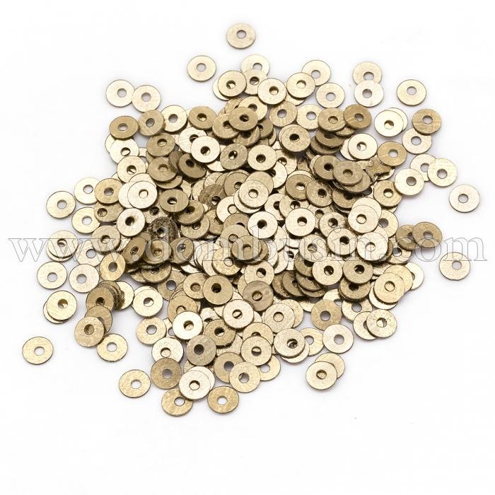 Пайетки, Круглые, Блестящие, Цвет: Темное Золото, Размер: 4мм, около 2000шт/10г, (УТ100024277)