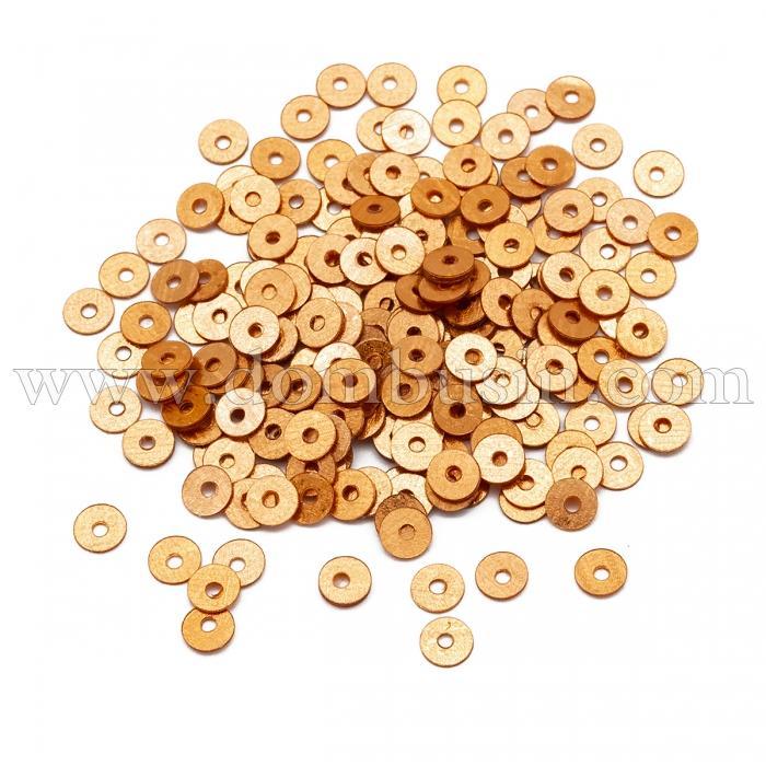 Пайетки, Круглые, Блестящие, Цвет: Оранжево-золотой, Размер: 4мм, около 2000шт/10г, (УТ100024279)